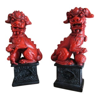 Alexander Backer Japanese Oxblood Red Foo Dogs - A Pair For Sale