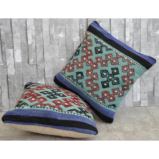 Hand-Woven Turkish Kilim Pillow Covers - A Pair - Image 3 of 7