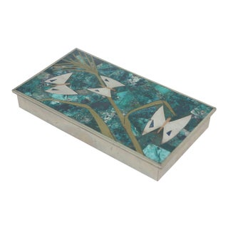 Los Castillo Mid-Century Azure-Malachite Copper & Silver Inlaid Box For Sale