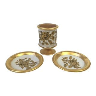 Italian Florentine Gold Smoking Set - 3 Piece Set For Sale