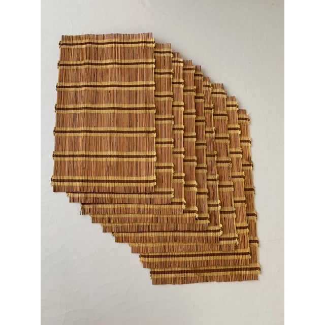 Orange Maria Kipp Style Mid-Century Wood Woven Placemats - Set of 9 For Sale - Image 8 of 8