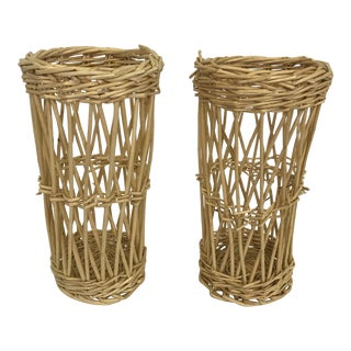Wicker Basket Cachepots - a Pair For Sale