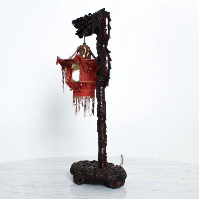 Red 1920s Antique Chinese Rosewood Dragon Table Lamp Pagoda For Sale - Image 8 of 9