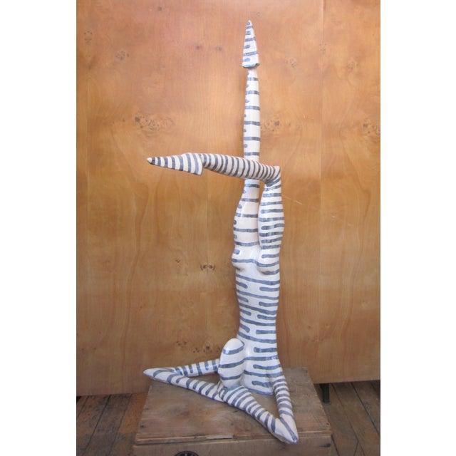 "Original Studio Art Postmodern Ceramic ""Acrobat"" Figural Blue Striped Biomorphic Form Sculpture by Jack Charney For Sale - Image 4 of 13"