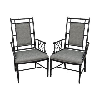 Hollywood Regency Black Chinese Chippendale Style Arm Chairs - A Pair