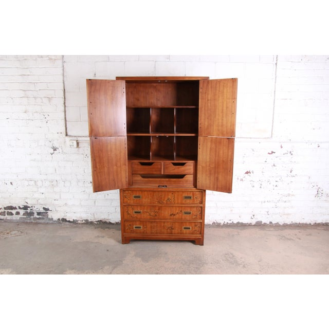 Drexel Heritage Hollywood Regency Chinoiserie Armoire Dresser For Sale In South Bend - Image 6 of 13