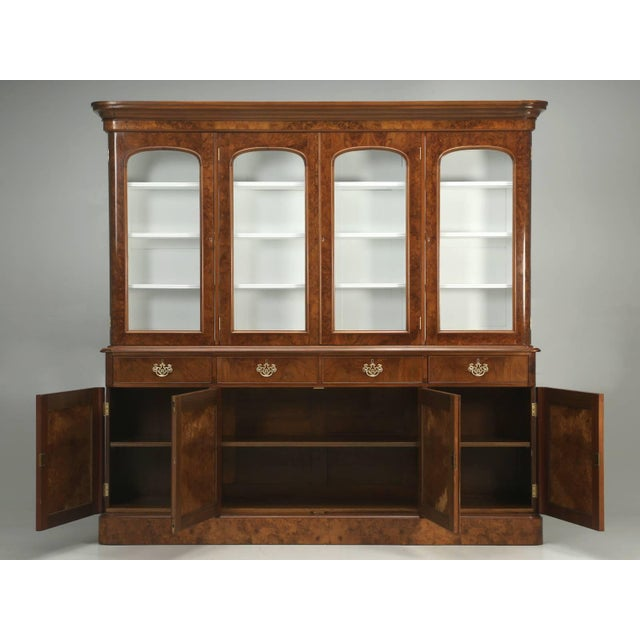 Antique English Burl Walnut Bookcase, Circa Late 1800s and Correctly Restored For Sale - Image 9 of 10