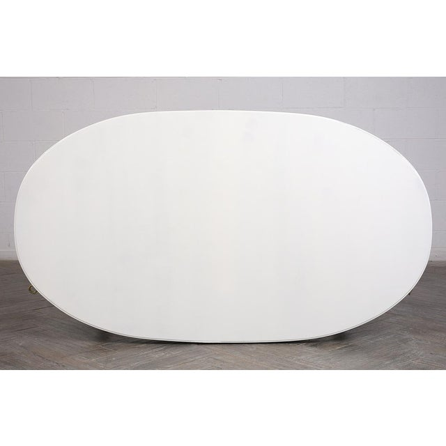 Traditional French Lacquered Louis XVI Style Oval Dining Table For Sale - Image 9 of 10