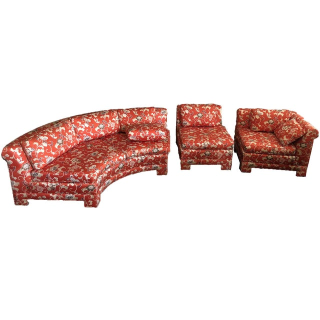 Asian Vintage Chinoiserie Curved Sectional by Hickory Furniture For Sale - Image 3 of 13