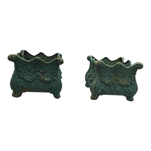 French Cast Iron Planters a Pair For Sale