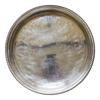 Wm Rogers Silver-Plated Round Pierced Gallery Tray For Sale