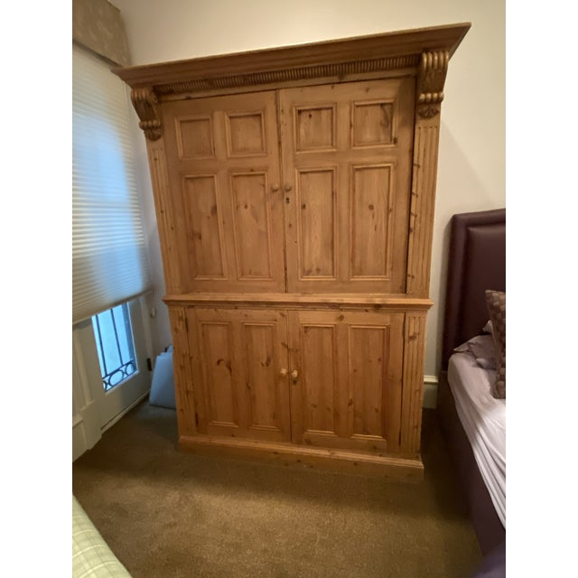 Late 19th Century 19th Century Vintage Belgian Pine Armoire For Sale - Image 5 of 12