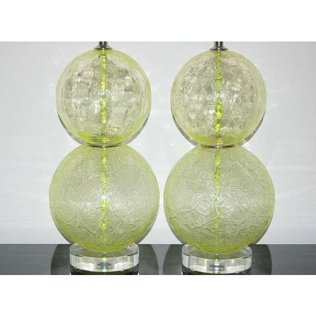 Murano Vintage Murano Glass Ball Table Lamps Lime Green For Sale - Image 4 of 10