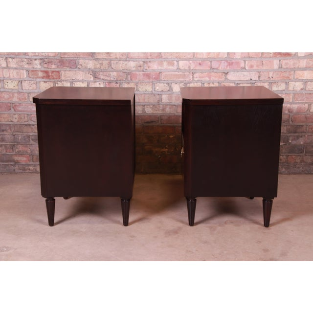 Robsjohn-Gibbings for Widdicomb Mid-Century Modern Walnut Nightstands, Newly Refinished For Sale - Image 10 of 13