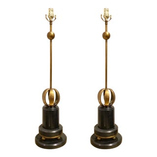 Lilian August for Currey & Co. Art Deco Inspired Modern Brass and Granite Leeds Table Lamp Pair For Sale