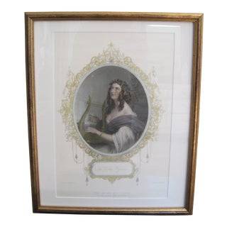 19th Century Colored Etching Vesper Hymn Irish Ballad Sir Thomas Moore Woman with Harp For Sale