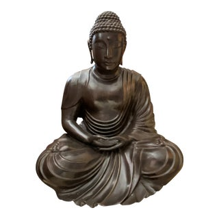 Three Feet High Large Bronze Indoor Outdoor Sitting Buddha Statue For Sale