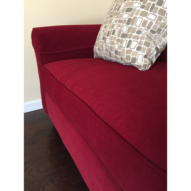 Red Contemporary Bassett Chenille Sofa For Sale - Image 8 of 9
