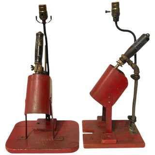 Two Red Industrial Factory Soldering Guns, Now as a Lamp For Sale