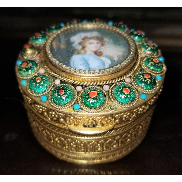 Early 19c French Gold Box With Enamel and Miniature Portrait For Sale - Image 11 of 12