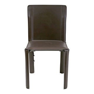 Kehl Brazilian Modern Side Chair Wrapped in Dark Brown Leather