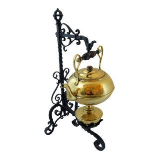 Antique Iron Stand & Brass Kettle For Sale