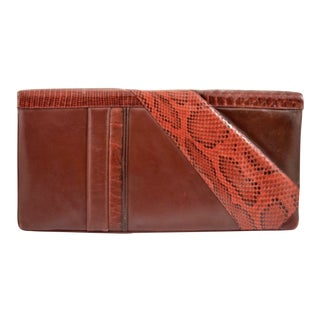1980s Judith Leiber Oversized Multi Skin Red Clutch For Sale