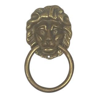 Early 20th Century Antique Brass Lion Head Door Knocker For Sale
