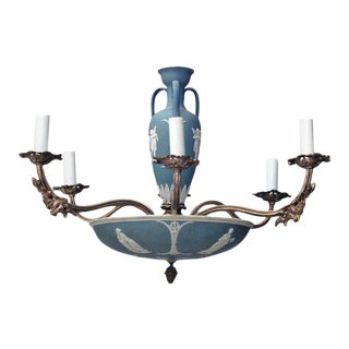 English Victorian Wedgwood Bronze Dore Chandelier For Sale