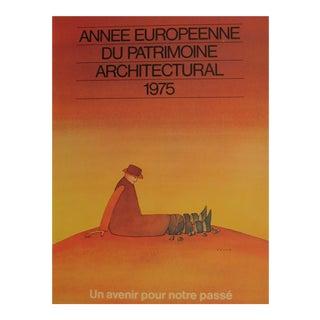 Vintage French Architecture Poster, Jean Michel Folon