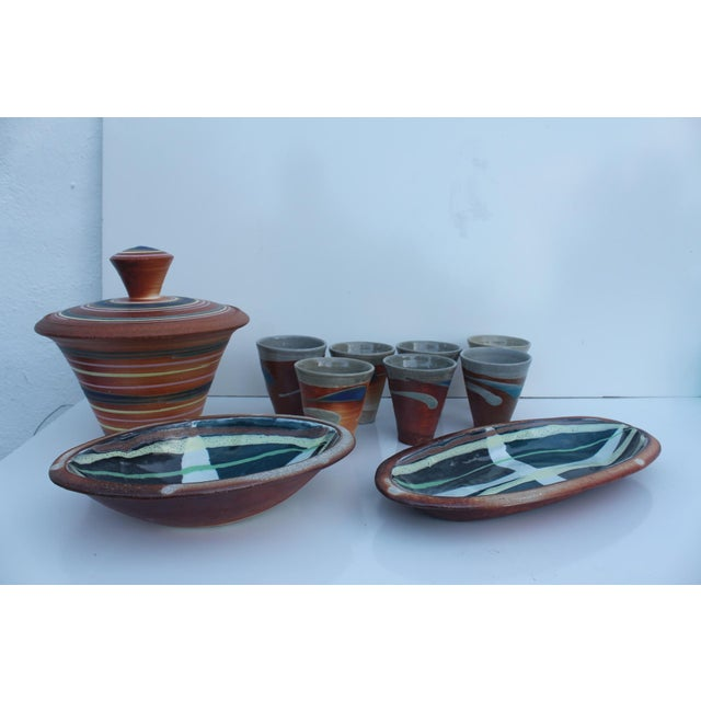 Vintage Studio Pottery Art Hand Painted Collection - Set of 10 - Image 3 of 11