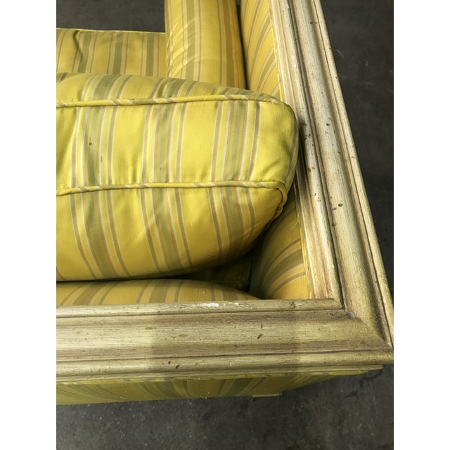 Wood Bright Yellow & Green Stripe French Directoire Louis XVI Settee Loveseat For Sale - Image 7 of 13