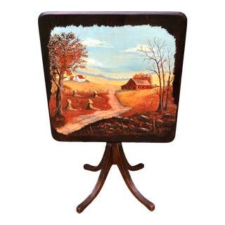 Folk ARt Hand Painted Tilt Top Table For Sale
