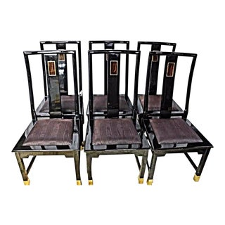 Asian Art Deco Accent Black Lacquer Brass Inlaid Dining Side Chairs -Set of 6