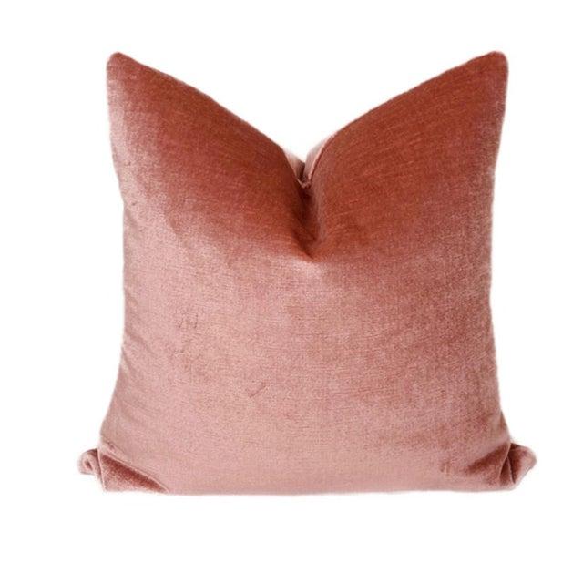 Contemporary Vintage Rose Linen Velvet Pillows - a Pair For Sale - Image 3 of 4