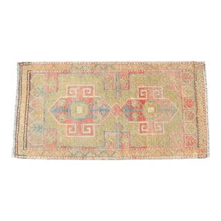 Low Pile Turkish Small Rug Yastik Hand Knotted Faded Mat Distressed Pale Rug - 21″ X 40″ For Sale