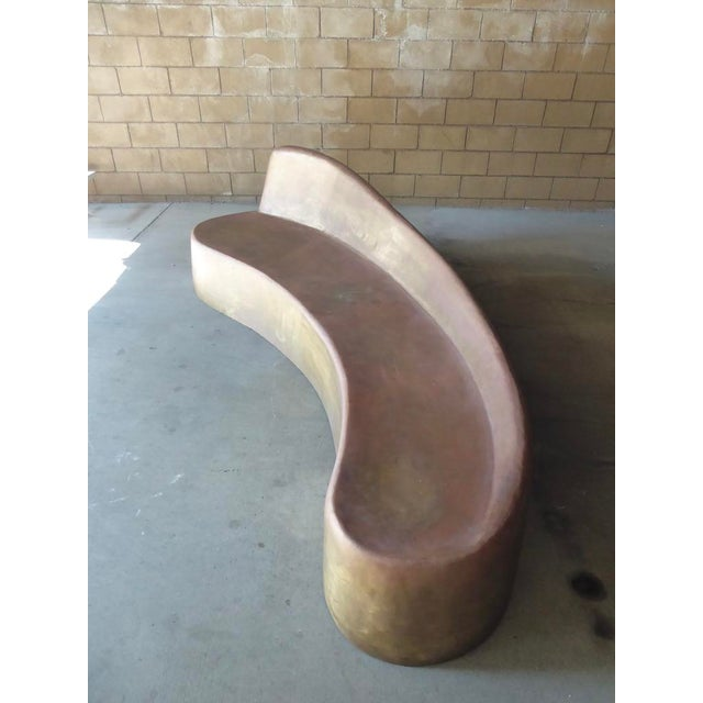 Unusual Brass Serpentine Settee in the Style of Vladimir Kagan For Sale In Palm Springs - Image 6 of 12