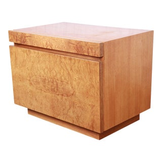 Burl Wood Nightstand by Lane For Sale