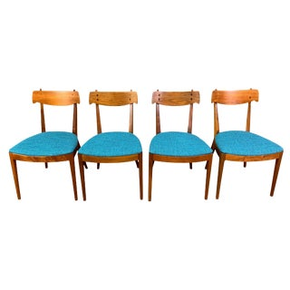 Vintage Mid Century Kipp Stewart for Drexel Walnut Dining Chairs- Set of 4 For Sale