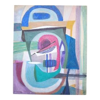 Bernard Segal Abstract Modernist Painting For Sale