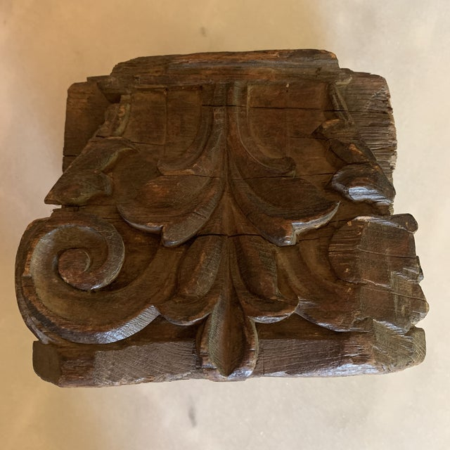 Indian English Colonial Indian Carved Teak Column Base Architectural Element C 1890 For Sale - Image 3 of 13