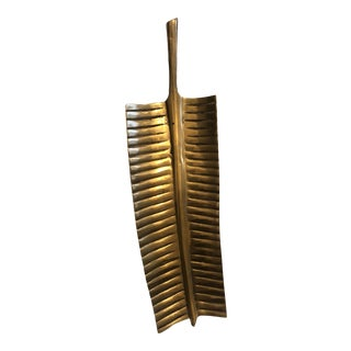 Vintage Mid-Century Brass Palm Leaf Tray For Sale