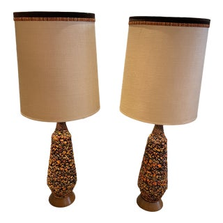 1970s Mid-Century Modern Ceramic Lava Rock Lamps With Drum Shades - a Pair For Sale