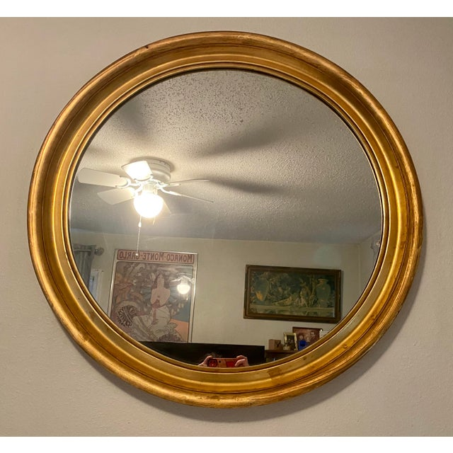 1950s Large Round Gilt Frame Hollywood Regency Mirror For Sale In Saint Louis - Image 6 of 6