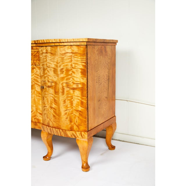 Art Deco Swedish Art Deco Sideboard of Bookmatched Golden Flame Birch For Sale - Image 3 of 13