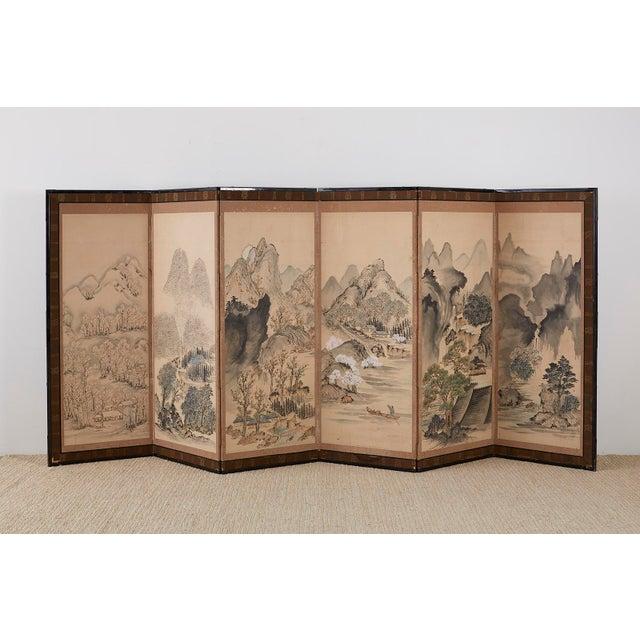 Japanese Six Panel Meiji Landscape Screen For Sale - Image 10 of 13