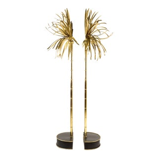 20th Century Italian Maison Jansen Style Casa Bique Brass Palm Tree Lamps - a Pair