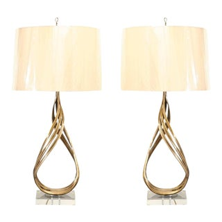 Stellar Restored Pair of Iconic Brass Flame Lamps by Chapman, circa 1993 For Sale