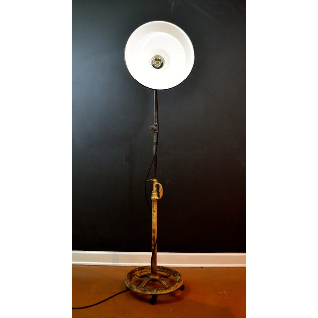 Industrial Floor Lamp With Green Enamel Shade - Image 8 of 8
