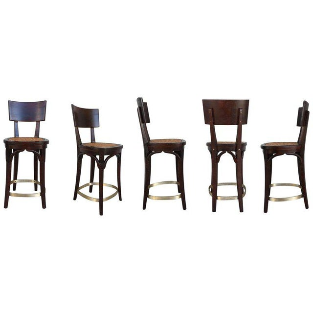 Set of Six Caned Seat and Wood Back Bar Stools For Sale - Image 13 of 13